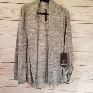 90° Heather Grey Cardigan with Ruched Sleeve